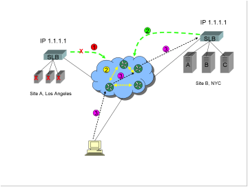 "A diagram showing two sites, a Global Server Load Balancer GSLB method commonly known as ""BGP Host Route Injection HRI"", and BGP route convergence after a site failure."